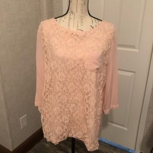 Chicos pale pink lace front 3/4 sleeve top 2